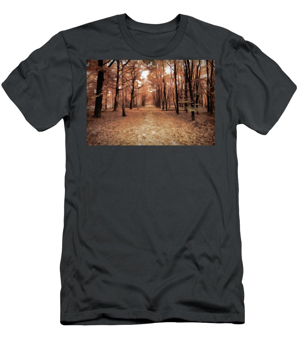 Leaves Men's T-Shirt (Athletic Fit) featuring the digital art Covered Path by Dave Luebbert