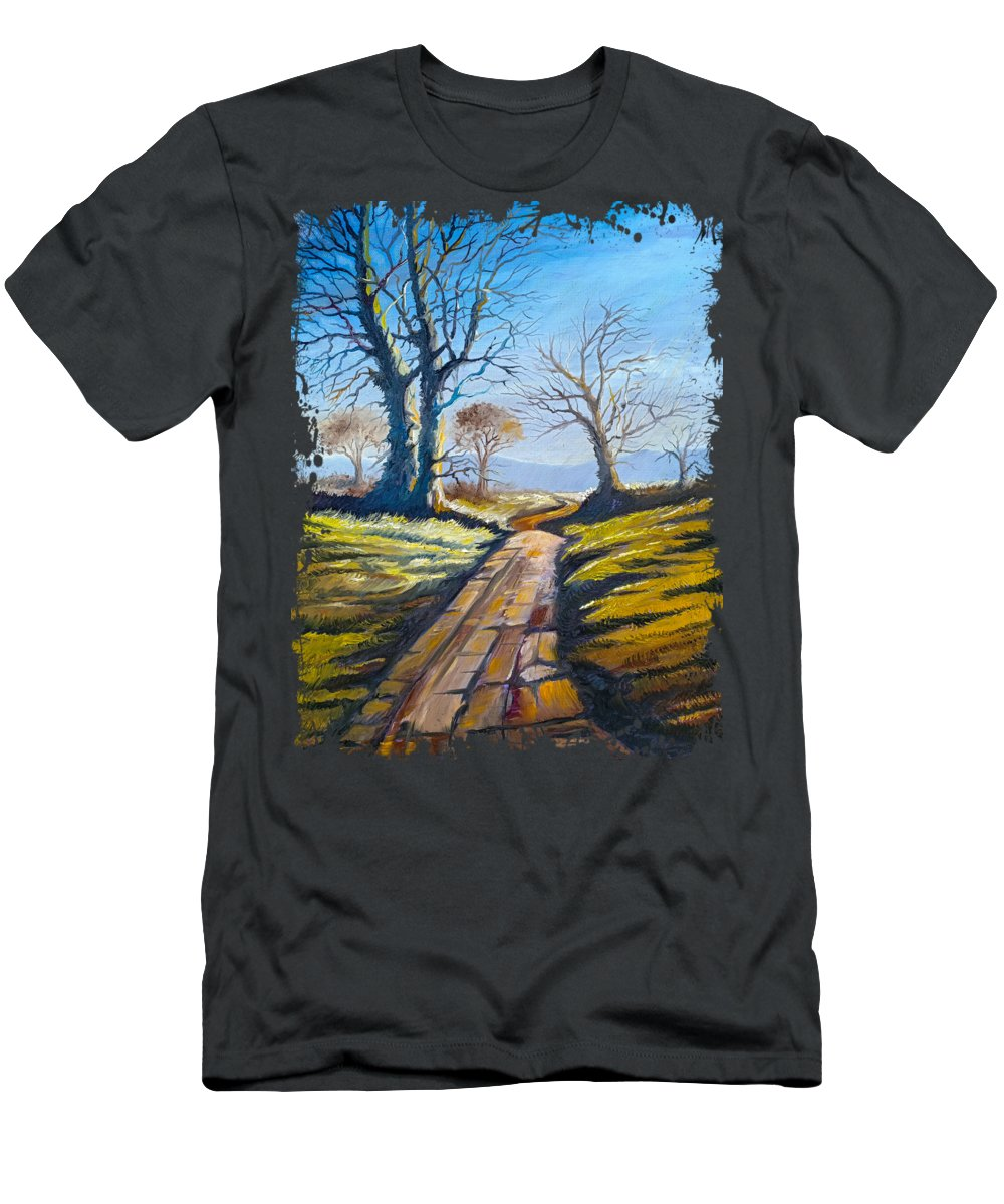 Tree Men's T-Shirt (Athletic Fit) featuring the painting Deciduous Trees by Anthony Mwangi