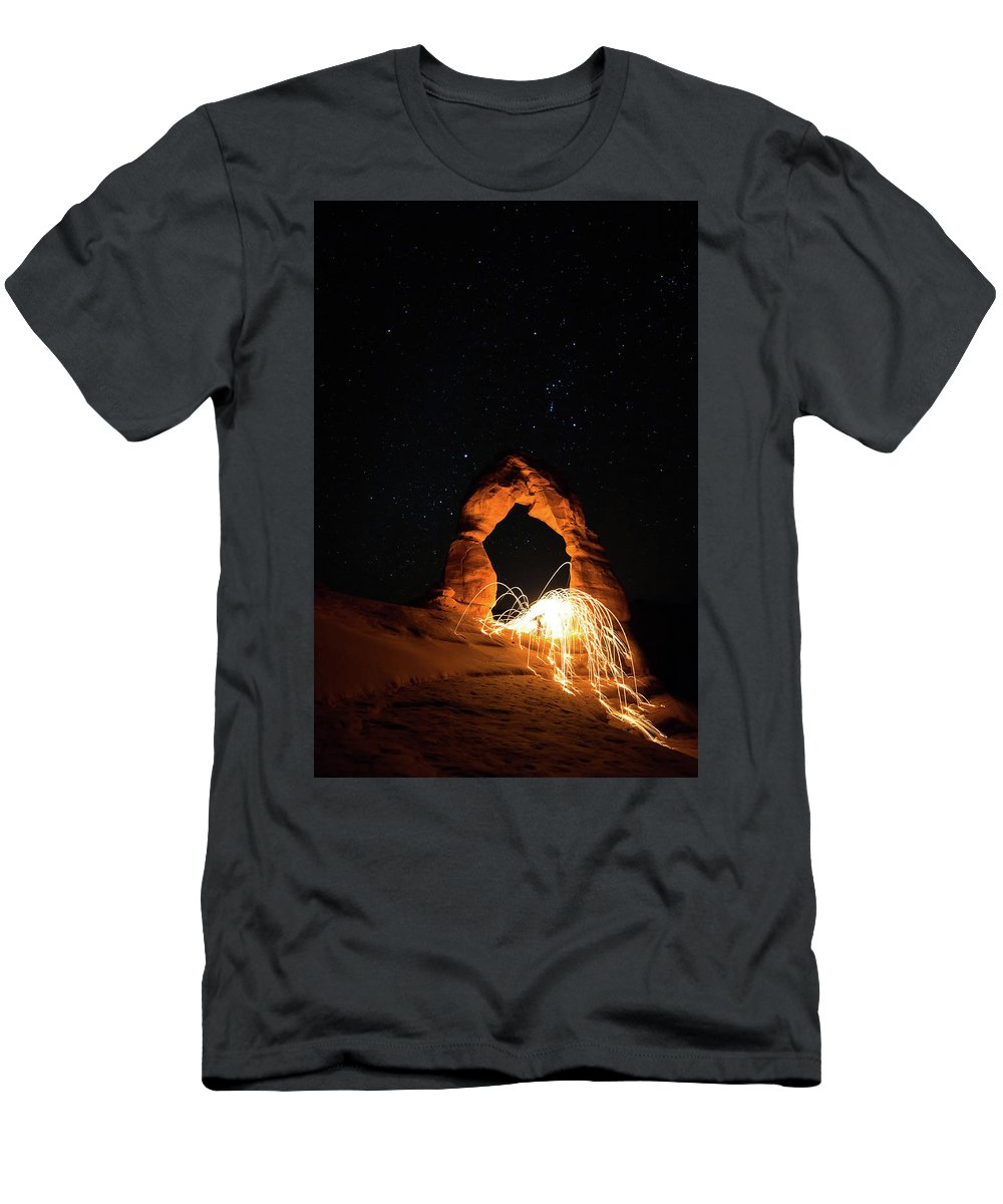 Delicate Arch Men's T-Shirt (Athletic Fit) featuring the photograph Delicate Arch Steel Wool by Nathan Bush