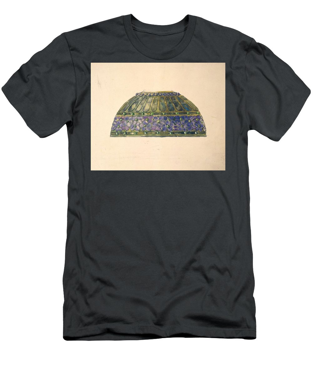 Car Men's T-Shirt (Athletic Fit) featuring the painting Design For Floral Lamp Louis Comfort Tiffany American, New York 1848-1933 New York by Louis Comfort Tiffany