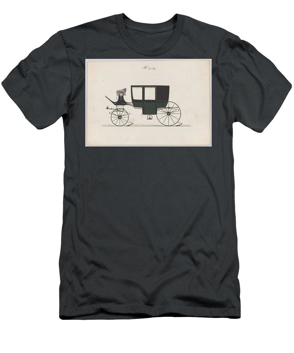 Car Men's T-Shirt (Athletic Fit) featuring the painting Design For Glass Panel Coach, No. 3132 1875 by MotionAge Designs