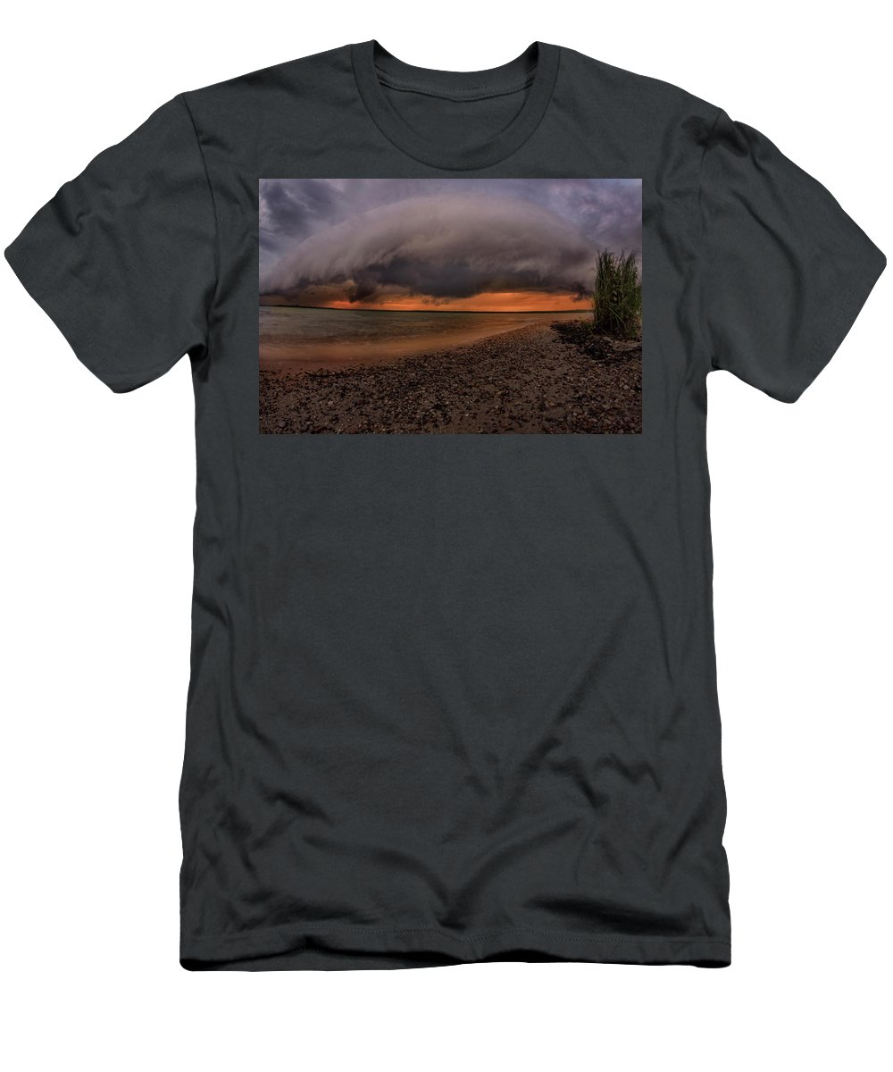Higgins Lake Men's T-Shirt (Athletic Fit) featuring the photograph Detroit Point Storm Moving In by Ron Wiltse
