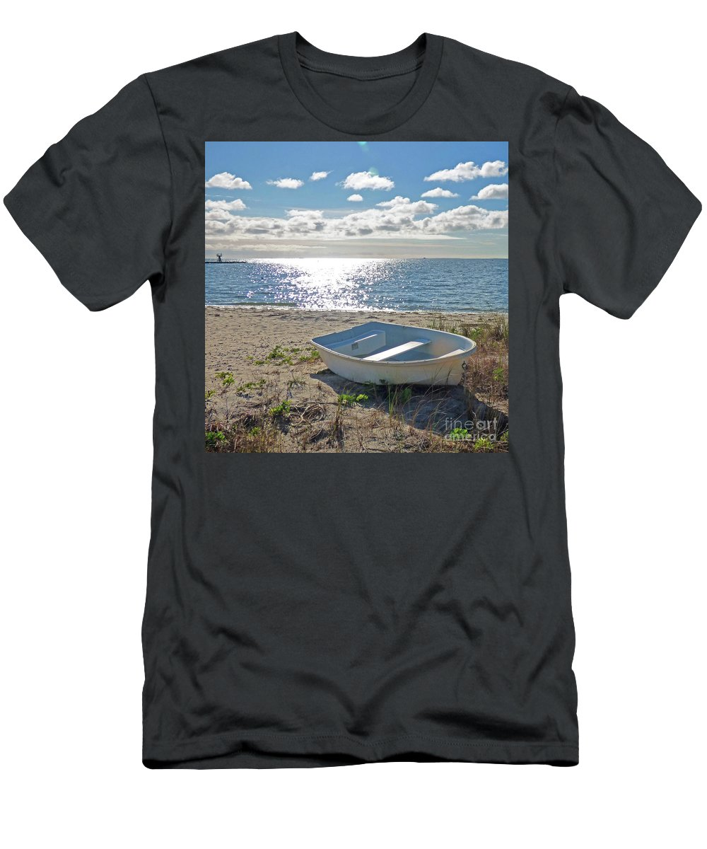 Landscape Men's T-Shirt (Athletic Fit) featuring the photograph Dinghy On A Sunny Beach by Sharon Eng