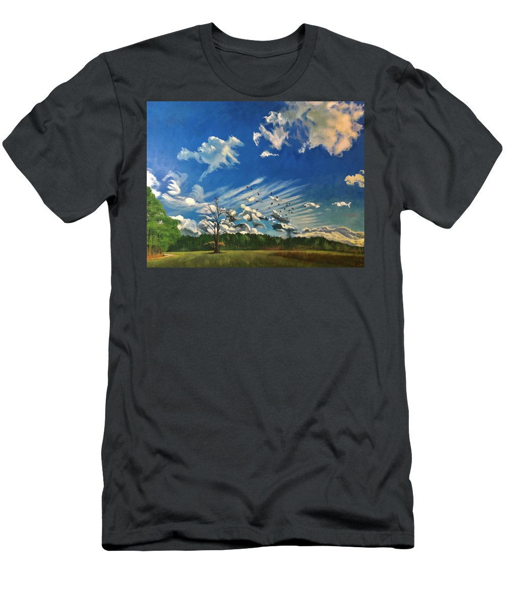 Landscape T-Shirt featuring the painting Dragons in the Sky by Peter Muzyka