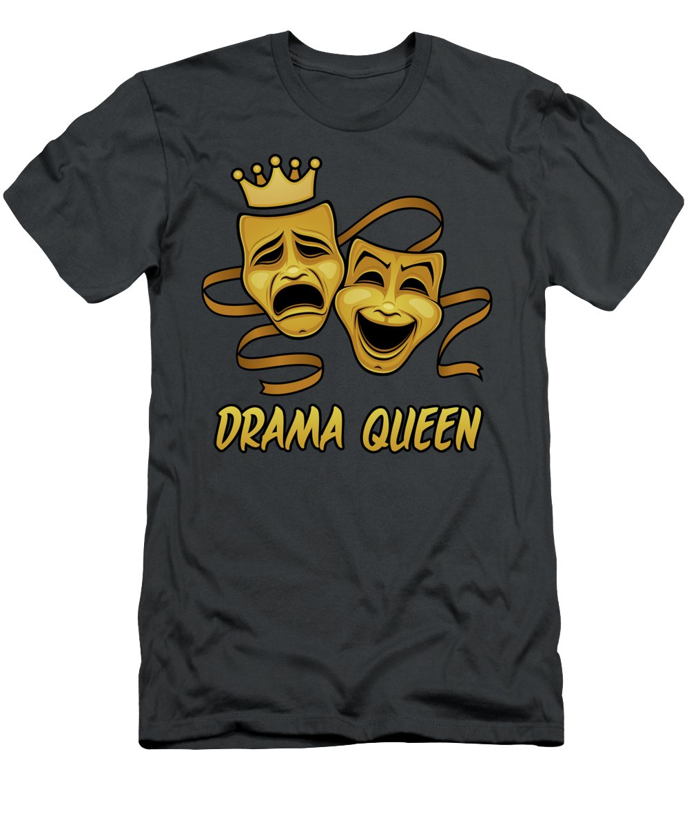 Acting T-Shirt featuring the digital art Drama Queen Comedy And Tragedy Gold Theater Masks by John Schwegel
