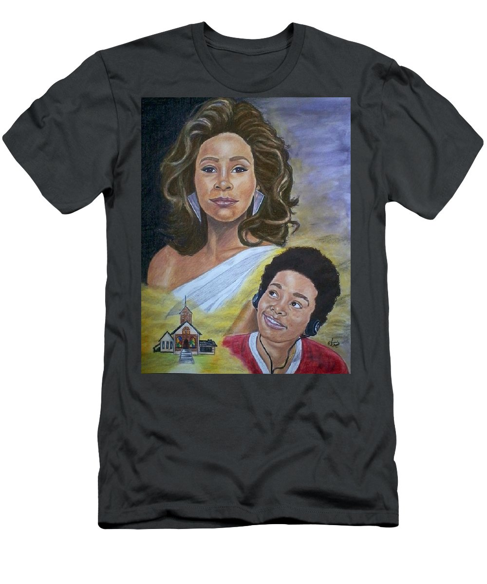 Celebrity Art. Black Art.\ Men's T-Shirt (Athletic Fit) featuring the painting Dreams Do Come True. Whitney by Arron Kirkwood