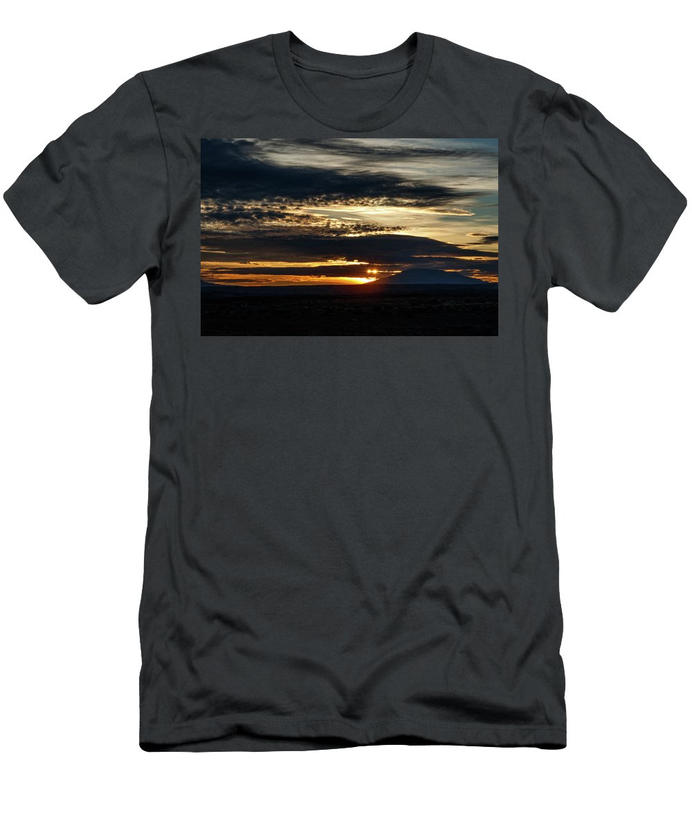 Arizona Men's T-Shirt (Athletic Fit) featuring the photograph Dual Sunstars At Nipple Bench Sunrise by Rolf Jacobson