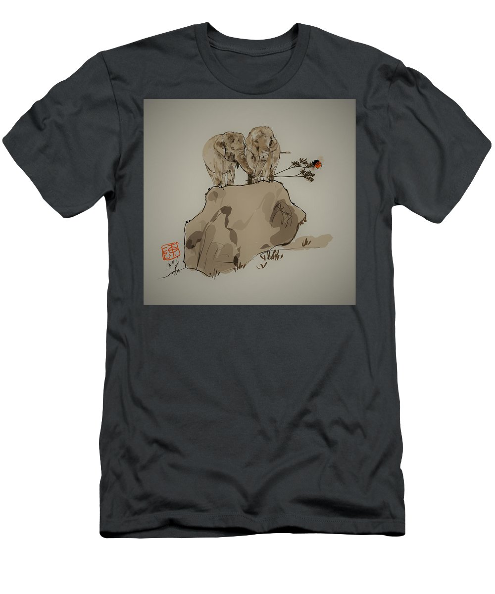 Elephants. Friends Men's T-Shirt (Athletic Fit) featuring the digital art Duo Of Elephants by Debbi Saccomanno Chan