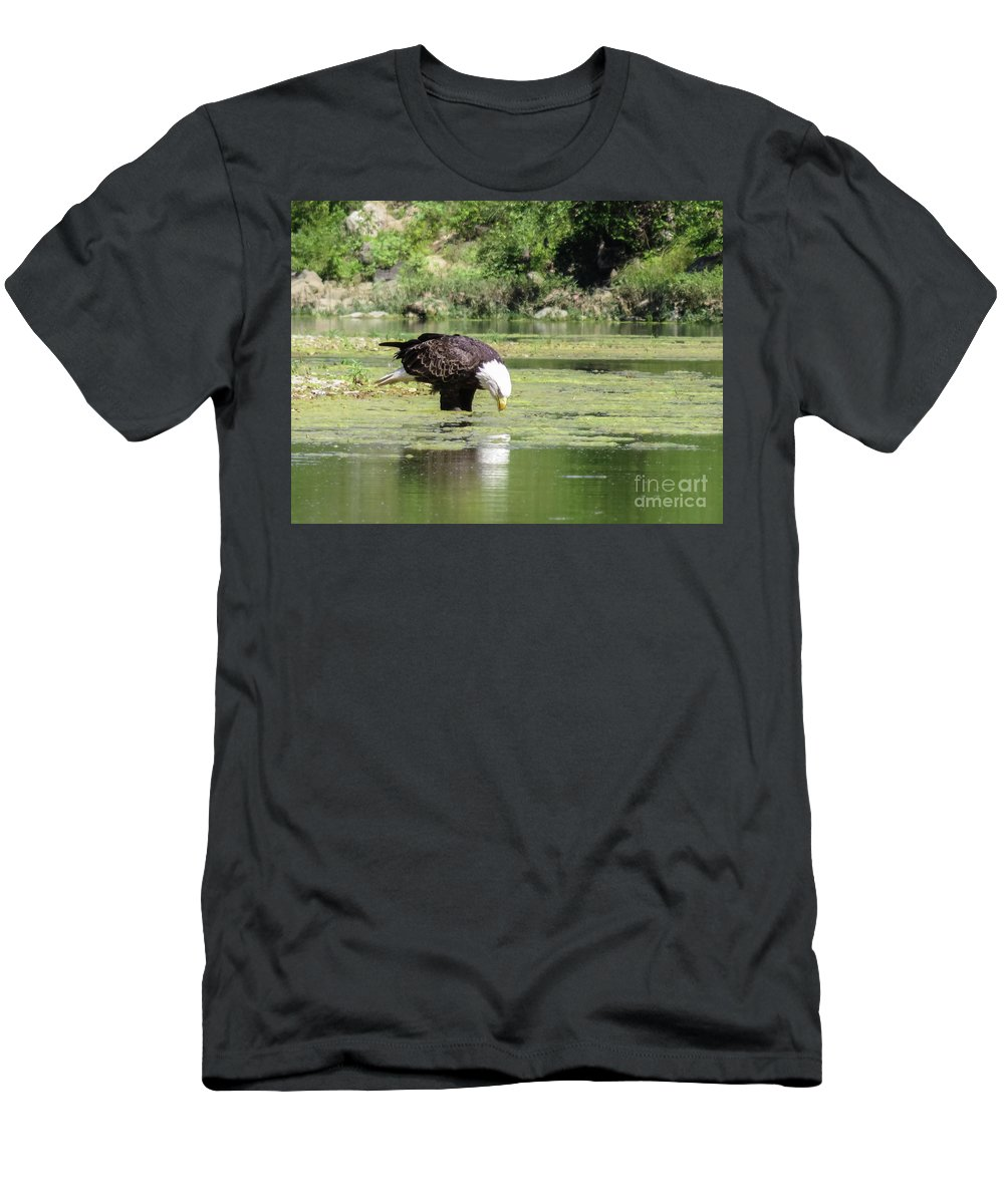 Eagle Men's T-Shirt (Athletic Fit) featuring the photograph Eagle's Drink by Terri Morris