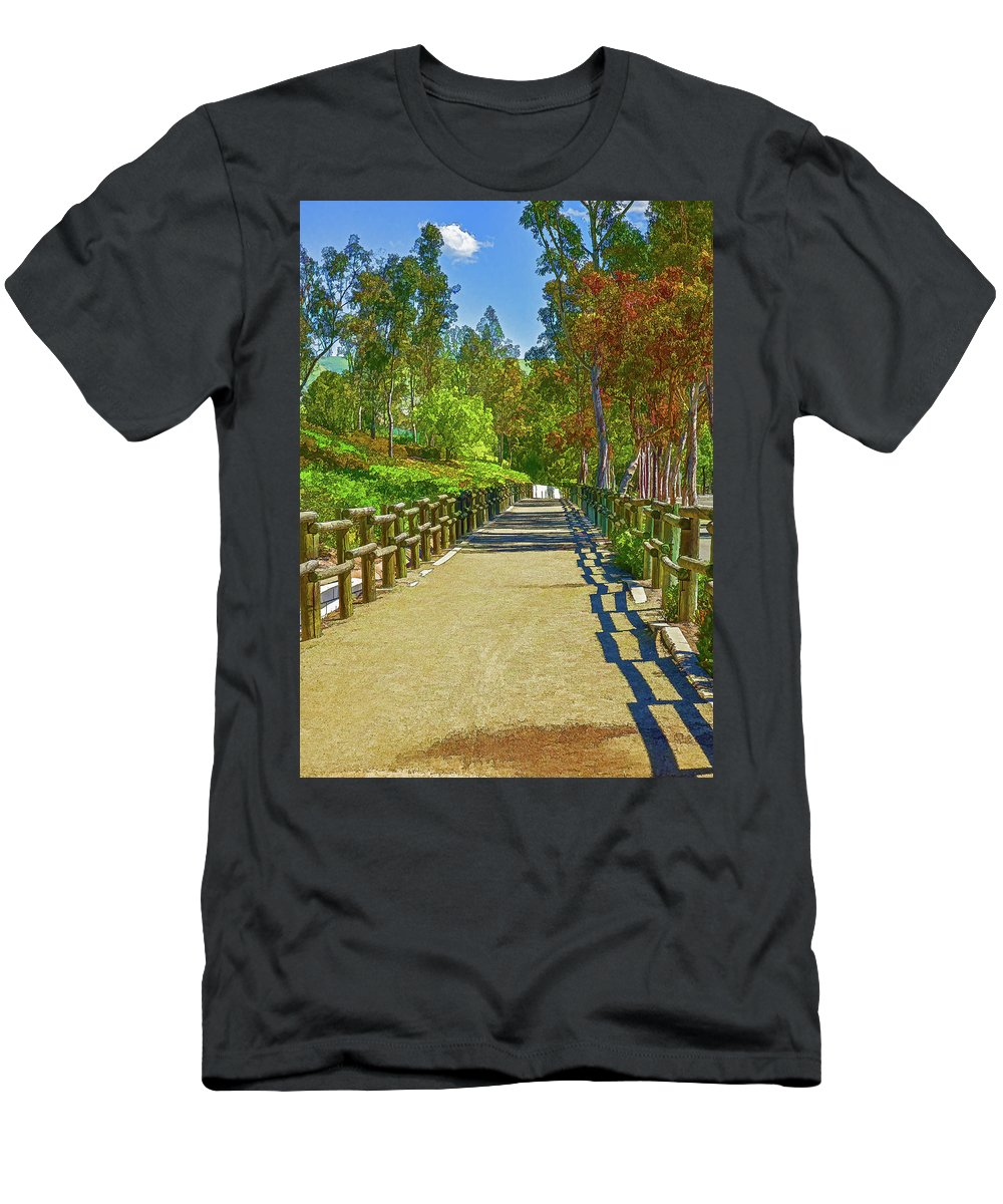 Linda Brody Men's T-Shirt (Athletic Fit) featuring the digital art Equestrian And Hiking Path Iv Painterly by Linda Brody