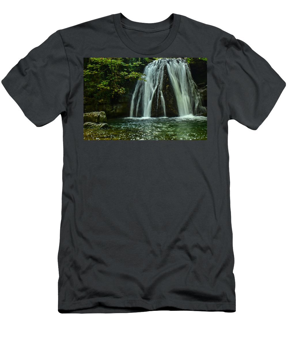 Waterfall Men's T-Shirt (Athletic Fit) featuring the photograph Flowing Falls by Daniel McNamara