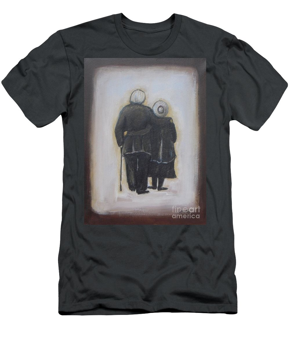 Abstract Men's T-Shirt (Athletic Fit) featuring the painting Forever In Love by Vesna Antic