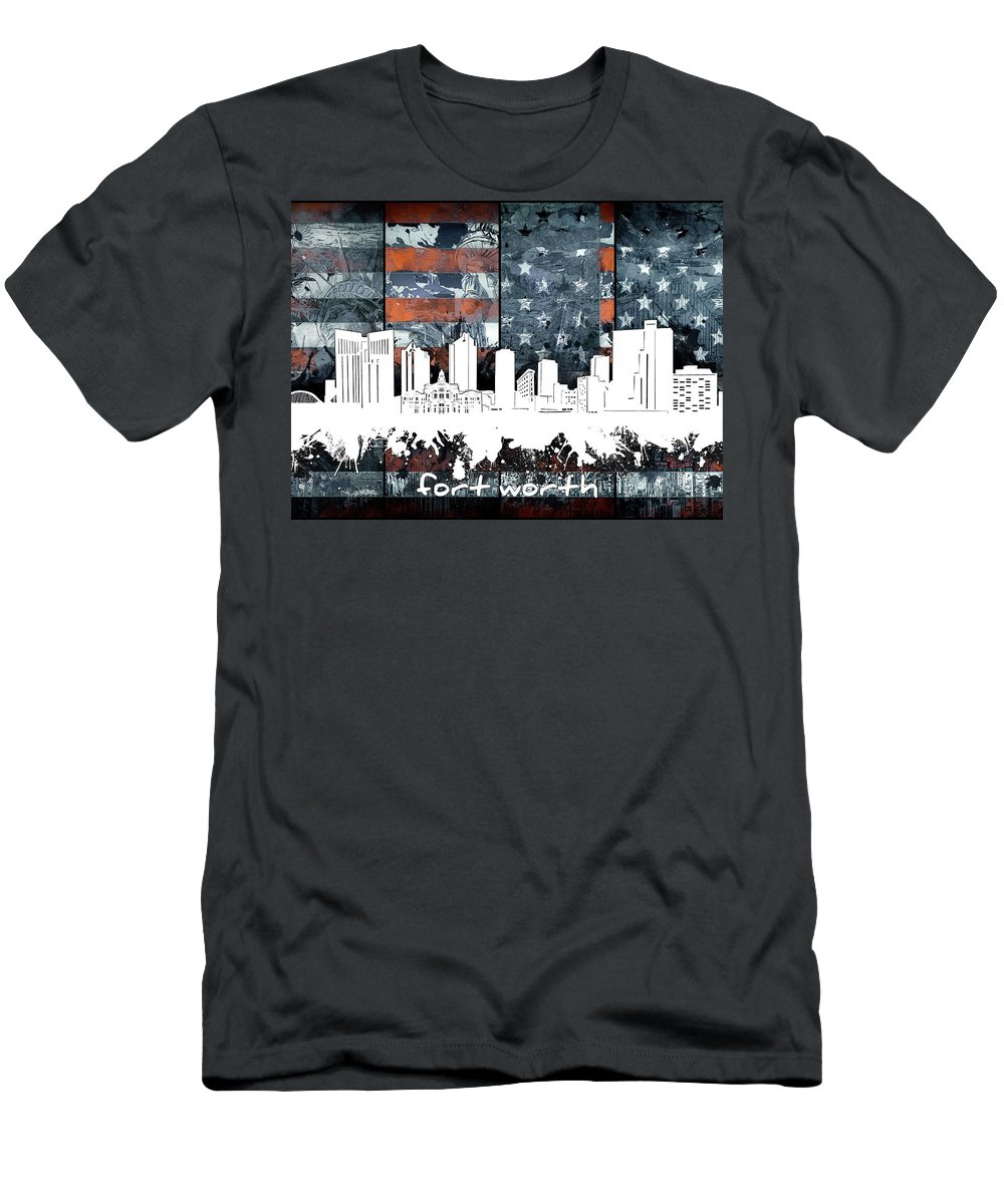 Fort Worth Men's T-Shirt (Athletic Fit) featuring the digital art Fort Worth Skyline Usa Flag 2 by Bekim Art