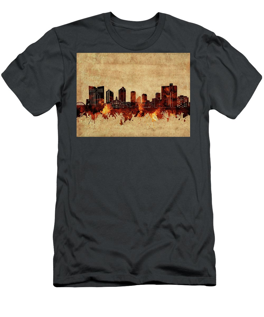 Fort Worth Men's T-Shirt (Athletic Fit) featuring the digital art Fort Worth Skyline Vintage by Bekim Art