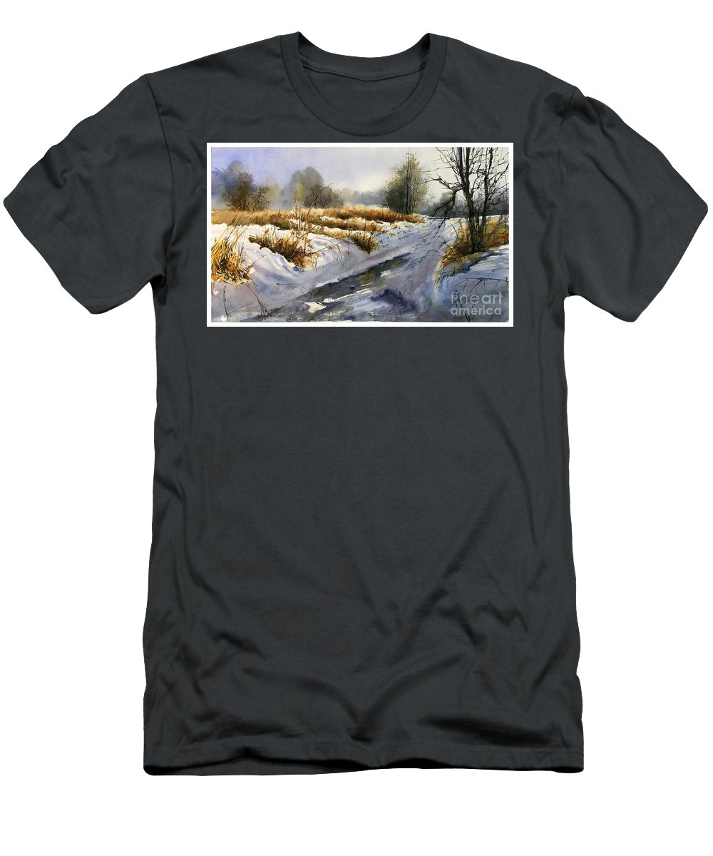 Winter Men's T-Shirt (Athletic Fit) featuring the painting Frozen Brook by Suzann Sines