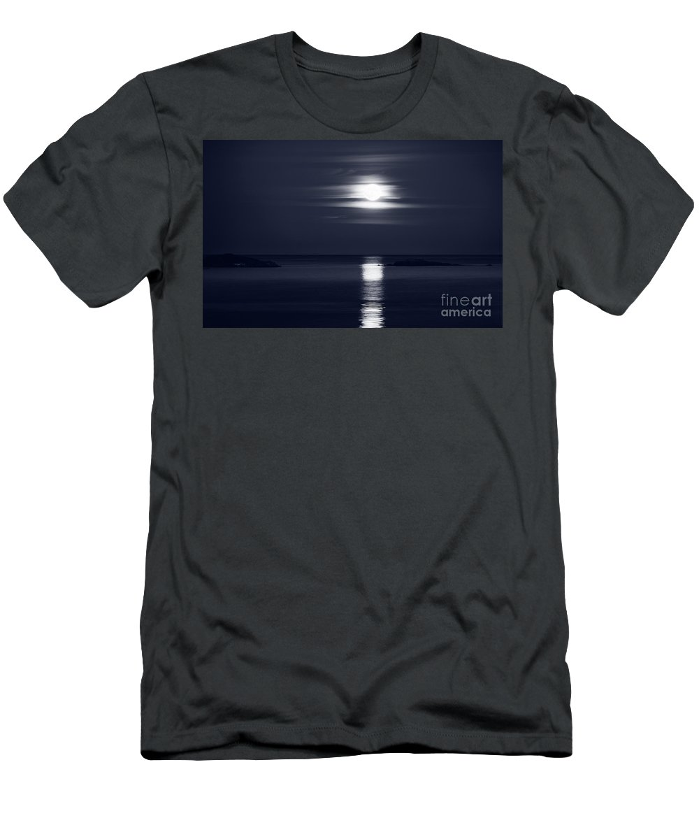 Moon Men's T-Shirt (Athletic Fit) featuring the photograph Full Harvest Moon Rising Above Pacific Ocean In Autumn Black And by Awen Fine Art Prints