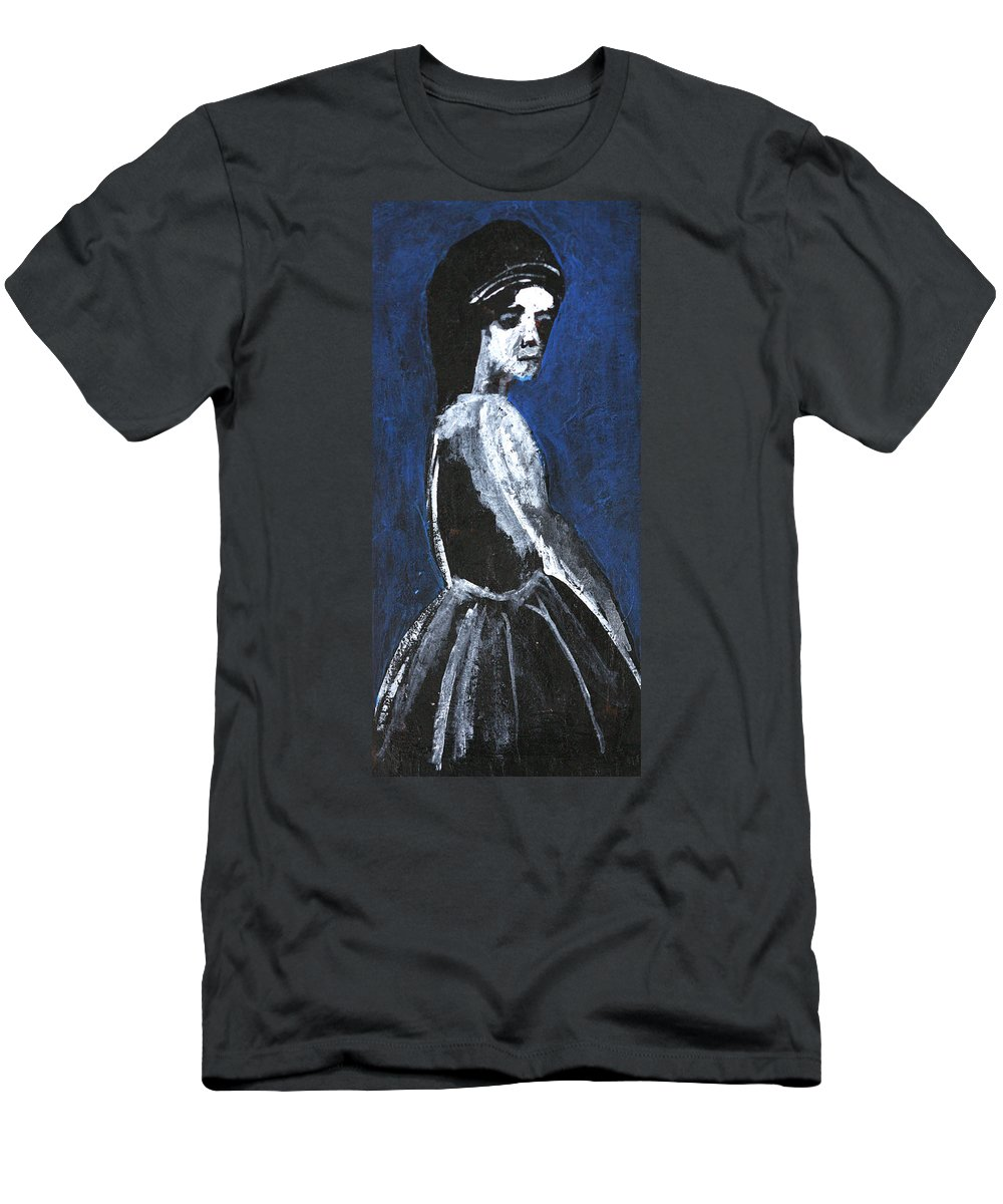 Girl Men's T-Shirt (Athletic Fit) featuring the painting Girl In A Dress by Artist Dot