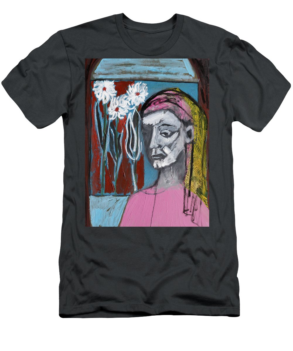 Girl Men's T-Shirt (Athletic Fit) featuring the painting Girl In Pink by Artist Dot