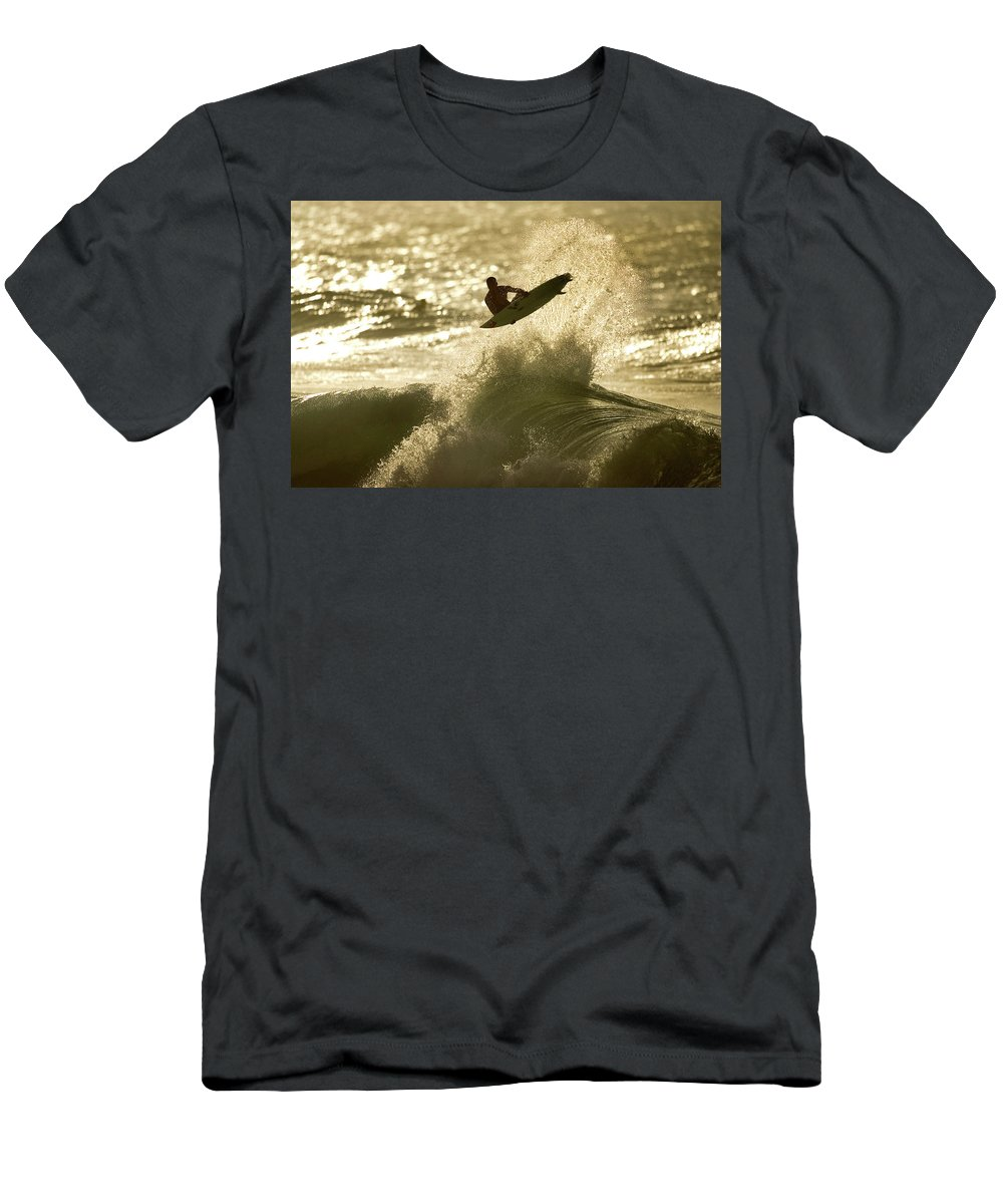 Surf Men's T-Shirt (Athletic Fit) featuring the photograph Gold Blast by Sean Davey