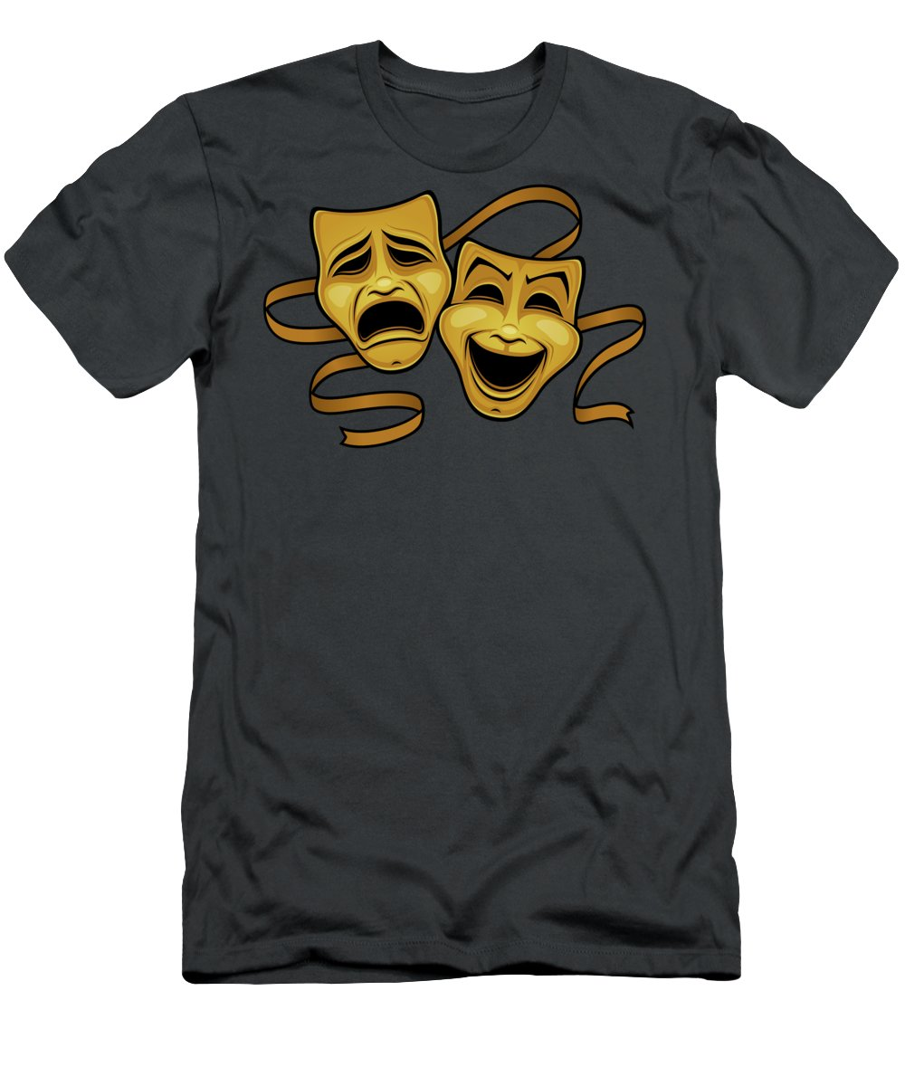 Acting T-Shirt featuring the photograph Gold Comedy And Tragedy Theater Masks by John Schwegel