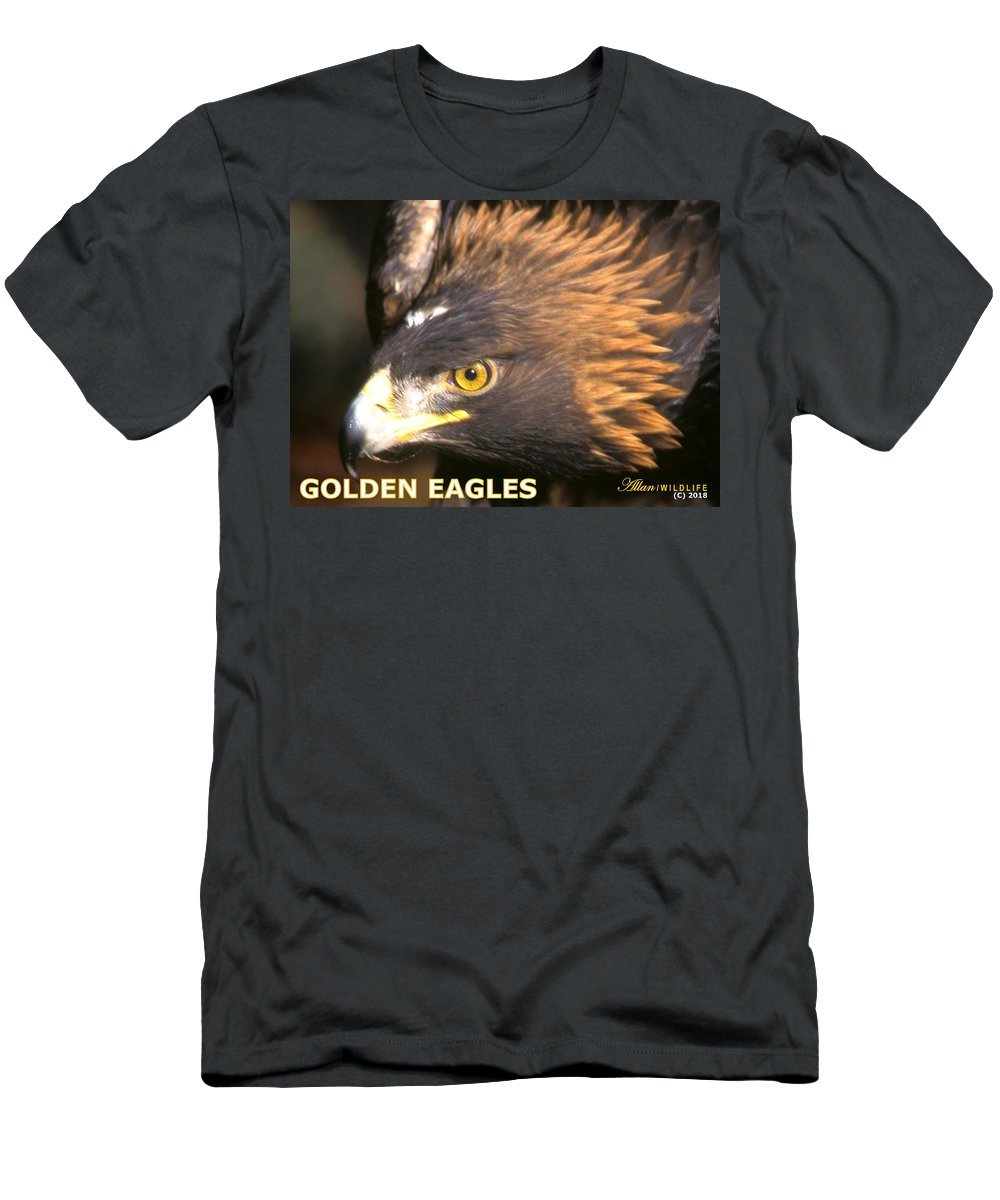 Eagles Men's T-Shirt (Athletic Fit) featuring the photograph Golden Eagles Mascot 10 by Larry Allan