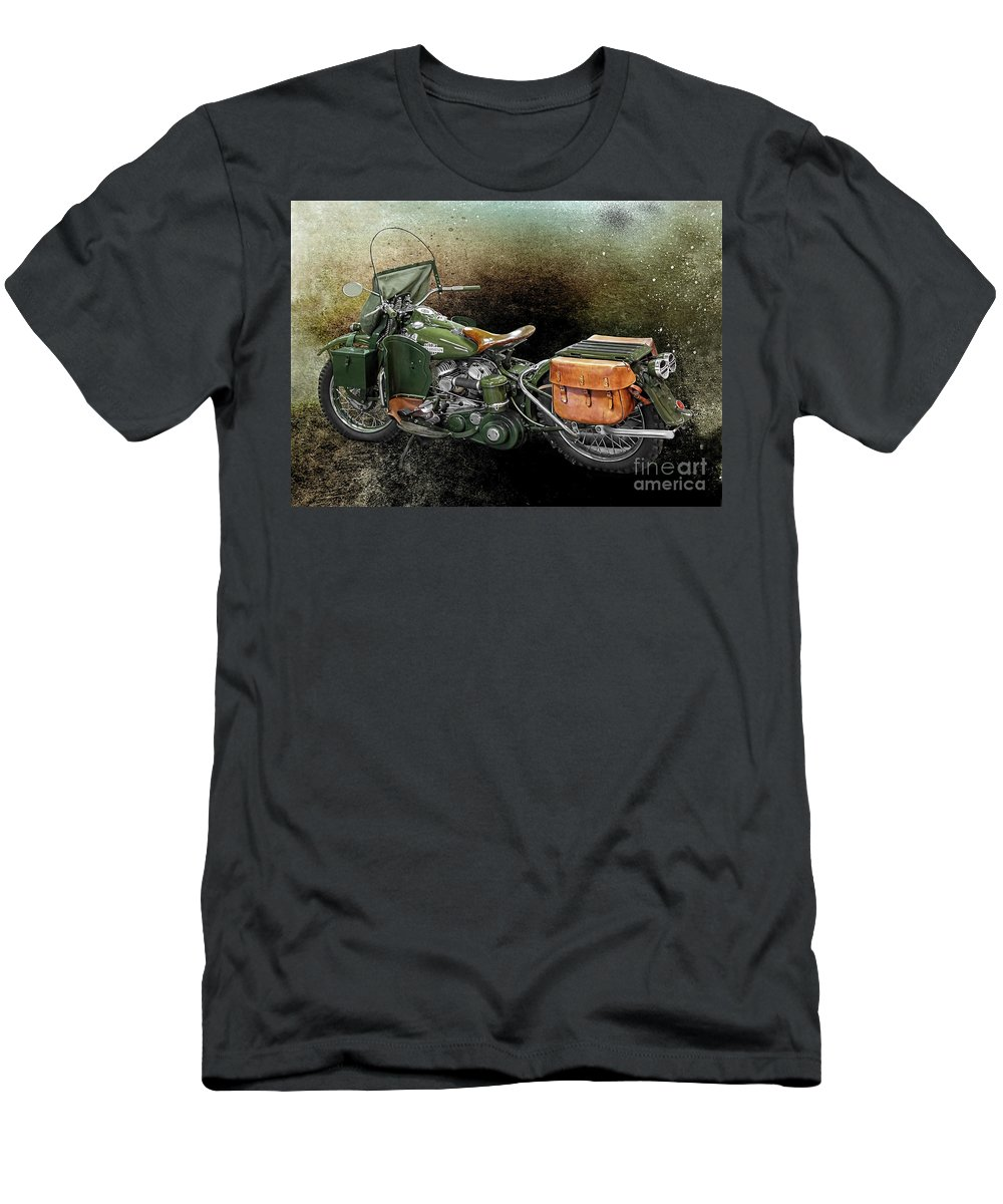 Harley Davidson Men's T-Shirt (Athletic Fit) featuring the photograph Harley Davidson 1942 Experimental Army by Barbara McMahon