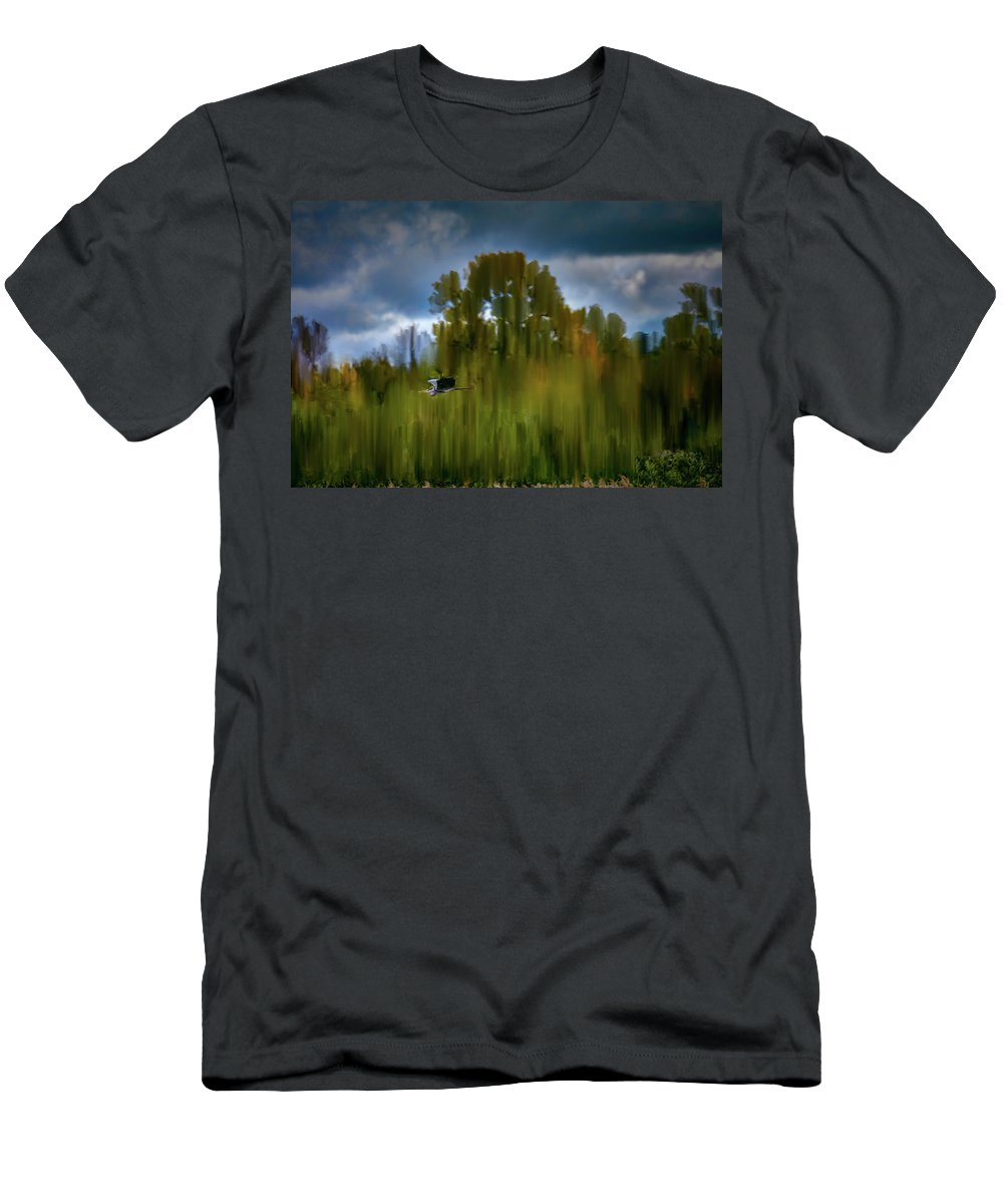 Heron Flying Abstract Men's T-Shirt (Athletic Fit) featuring the photograph Heron Flying Abstract #h9 by Leif Sohlman