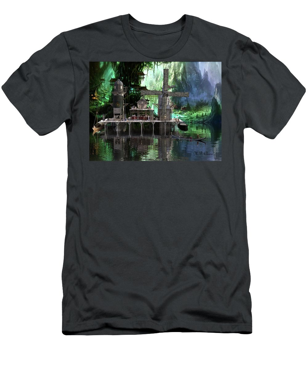 Brewery Men's T-Shirt (Athletic Fit) featuring the digital art Hippies Hideout by Michael Cleere