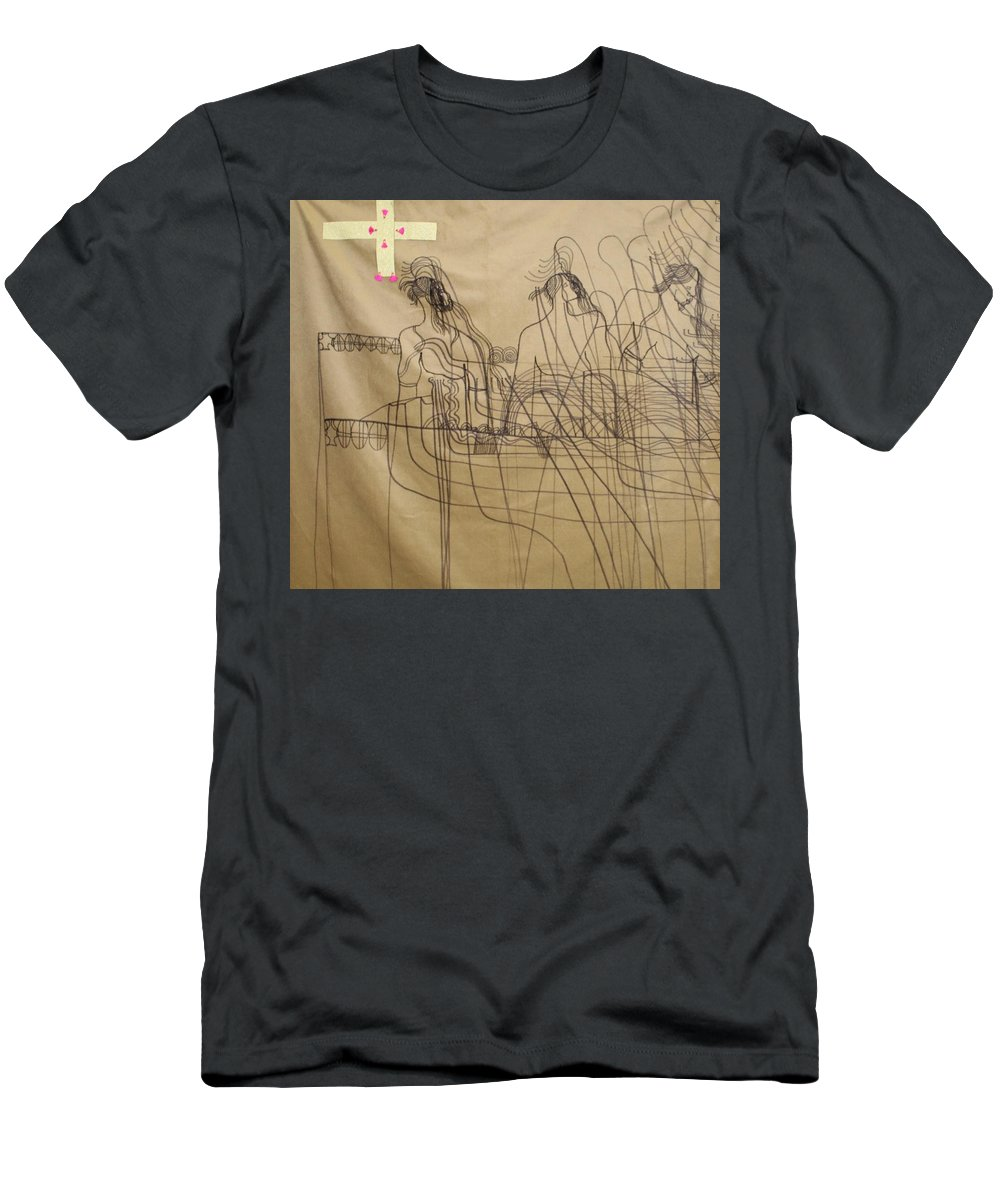 Jesus Men's T-Shirt (Athletic Fit) featuring the painting Holy Trinity And Our Lady Asia by Gloria Ssali