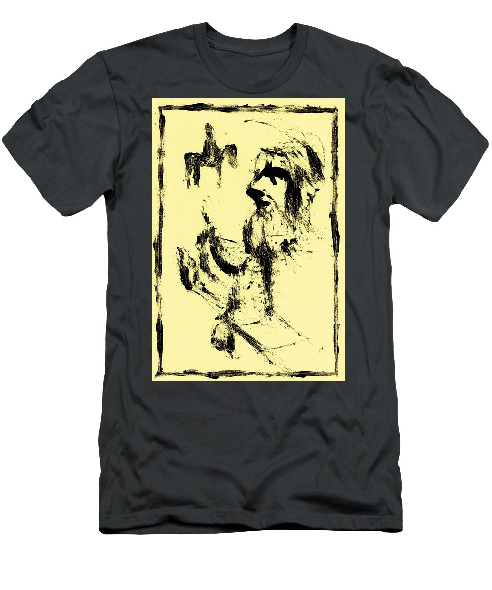 Horse Men's T-Shirt (Athletic Fit) featuring the painting Horsemen On Yellow by Artist Dot