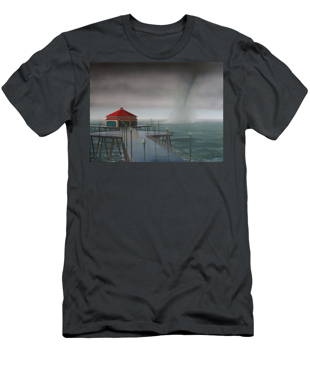 Huntington Beach T-Shirt featuring the painting Huntington Beach Pier waterspout by Philip Fleischer