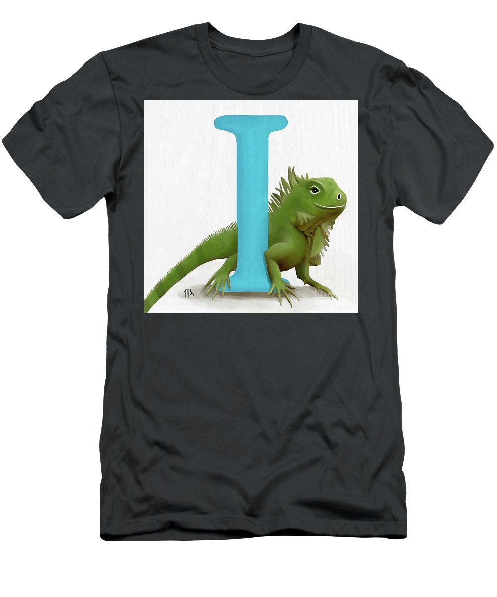 Letter Men's T-Shirt (Athletic Fit) featuring the painting I Is For Iguana by Tammy Lee Bradley