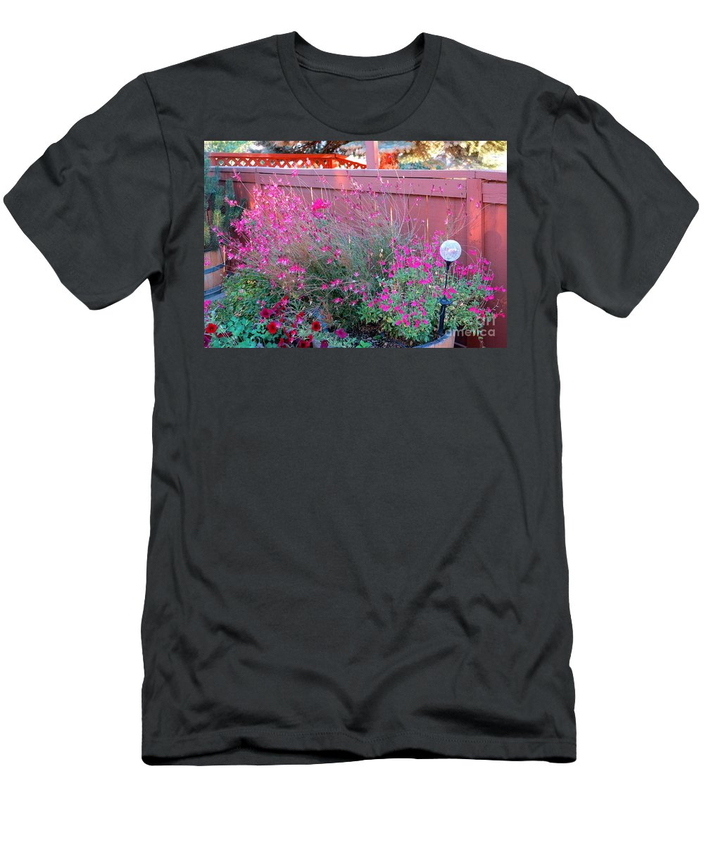 Pinck Flowers Men's T-Shirt (Athletic Fit) featuring the photograph I Love My Flowers by Phyllis Kaltenbach