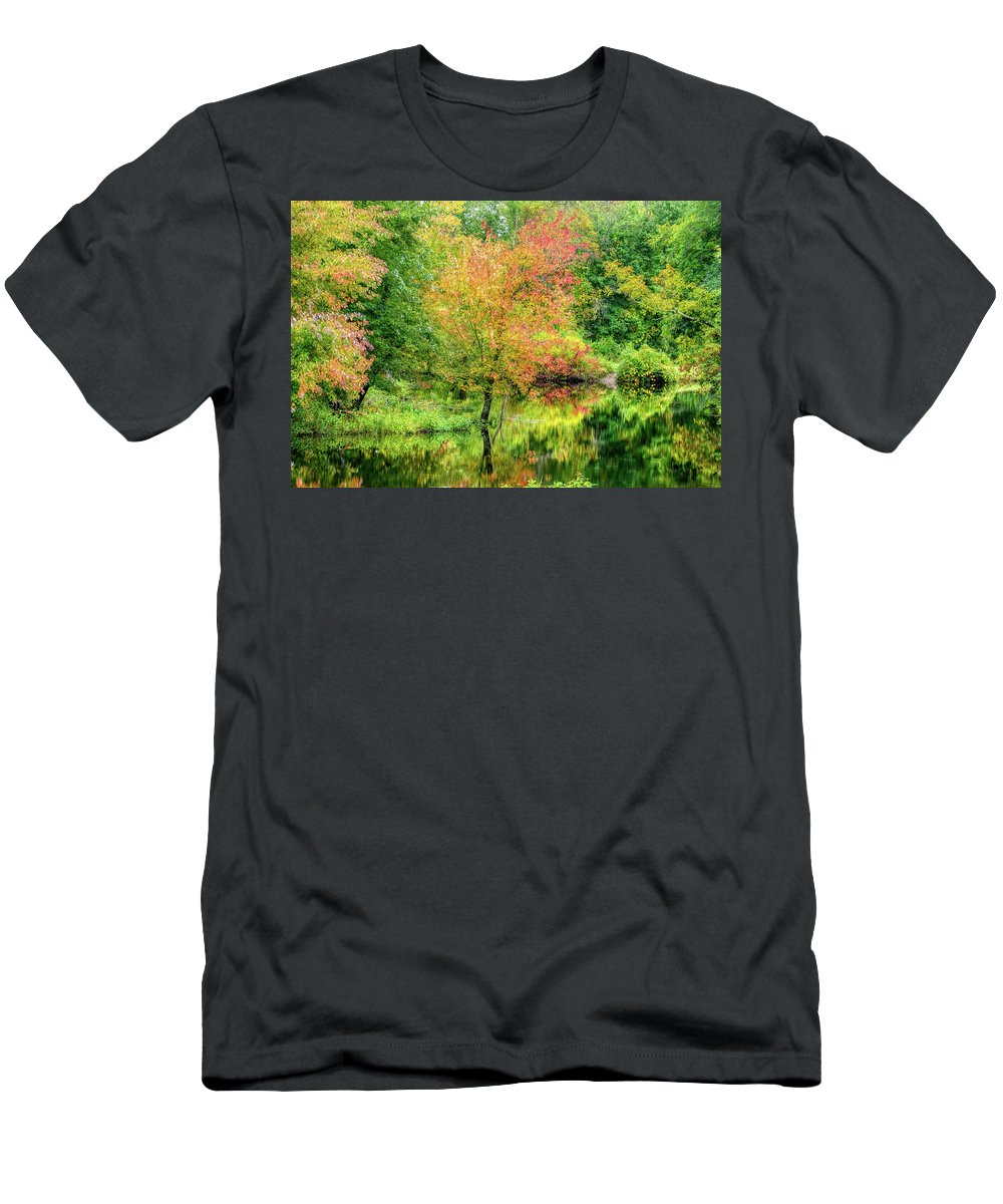 Ipswich River Men's T-Shirt (Athletic Fit) featuring the photograph Ipswich River Reflections, Topsfield Ma. by Michael Hubley