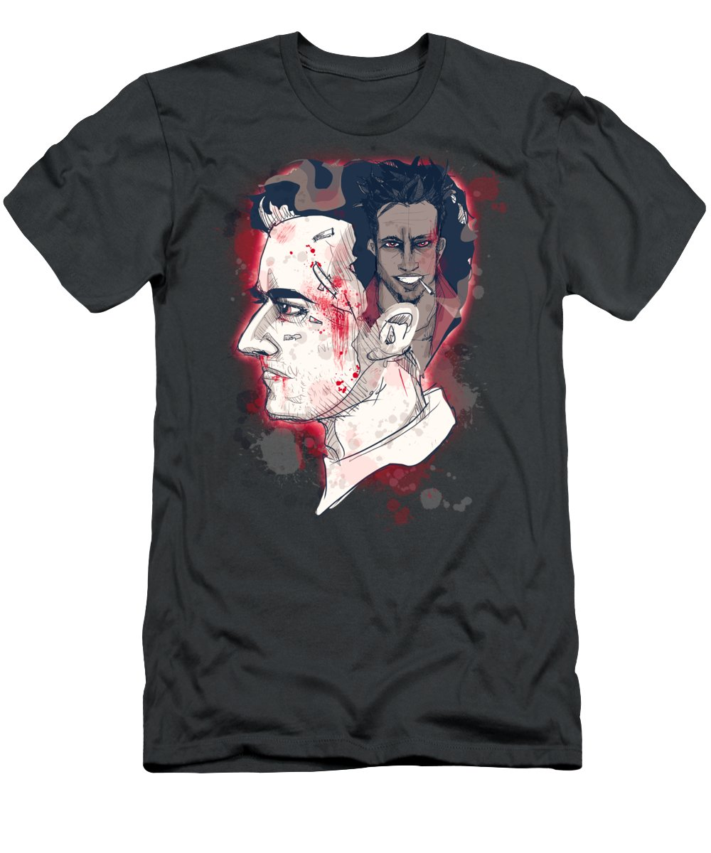 Fight T-Shirt featuring the drawing Jack's Smirking Revenge by Ludwig Van Bacon