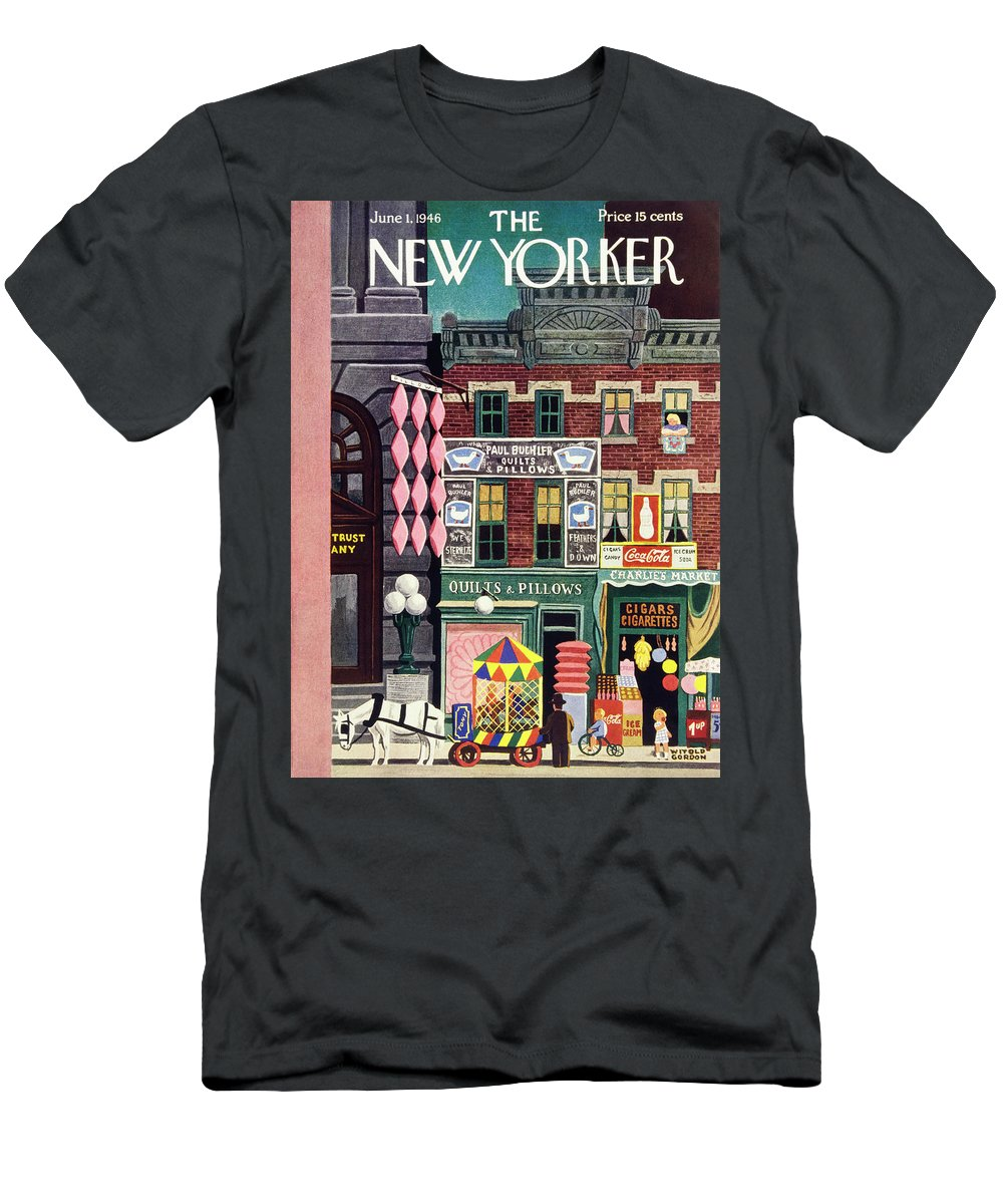 Illustration Men's T-Shirt (Athletic Fit) featuring the painting New Yorker June 1, 1946 by Witold Gordon