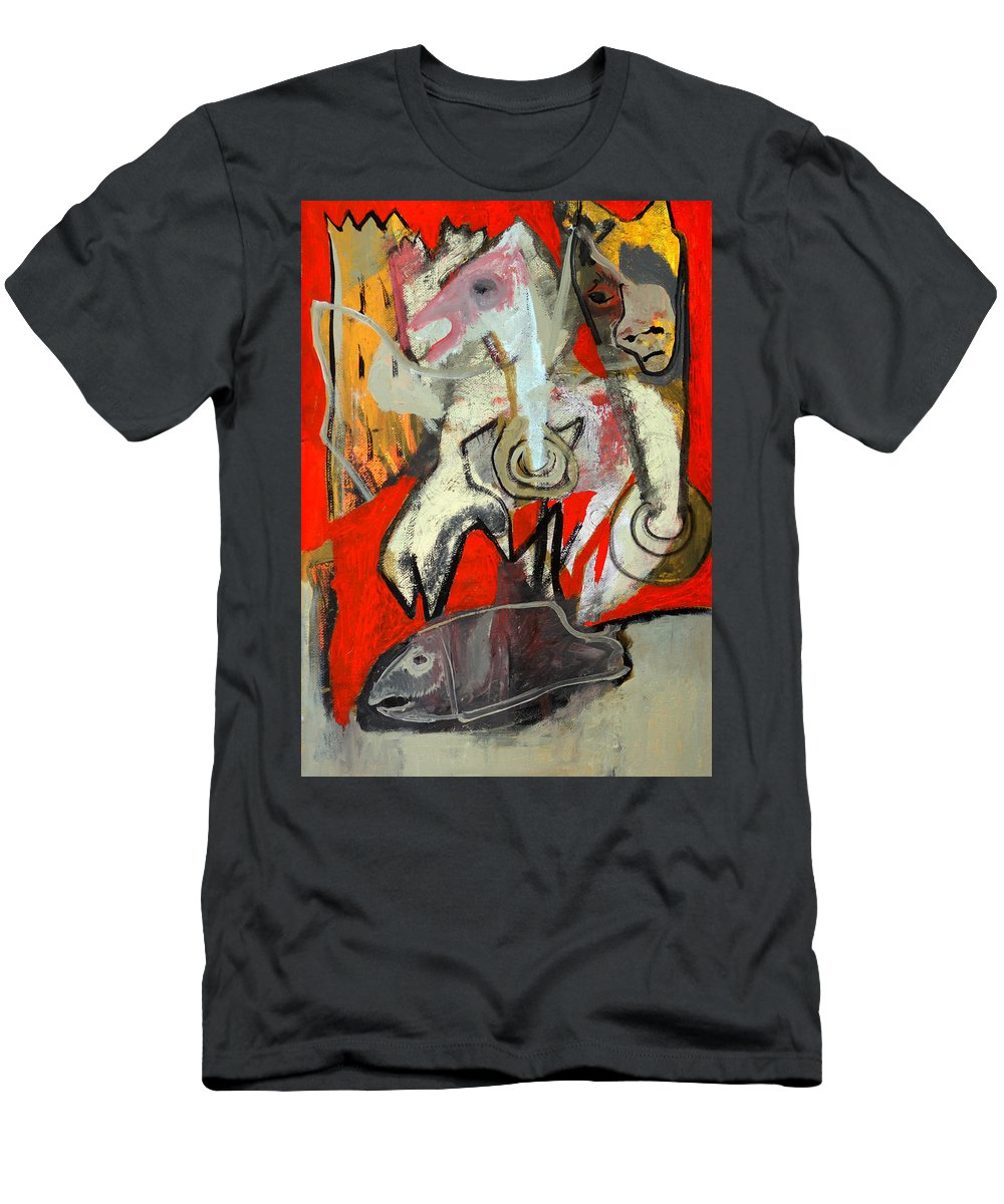 Knight Men's T-Shirt (Athletic Fit) featuring the painting Knight And Fish by Artist Dot