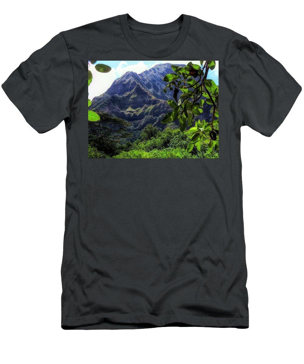 #ko'olau Men's T-Shirt (Athletic Fit) featuring the photograph Ko'olau Peak by Cornelia DeDona