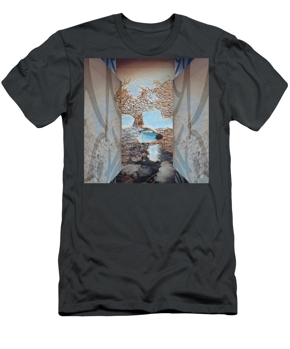Tree Men's T-Shirt (Athletic Fit) featuring the mixed media Limbo by Marcia Kaye Rogers