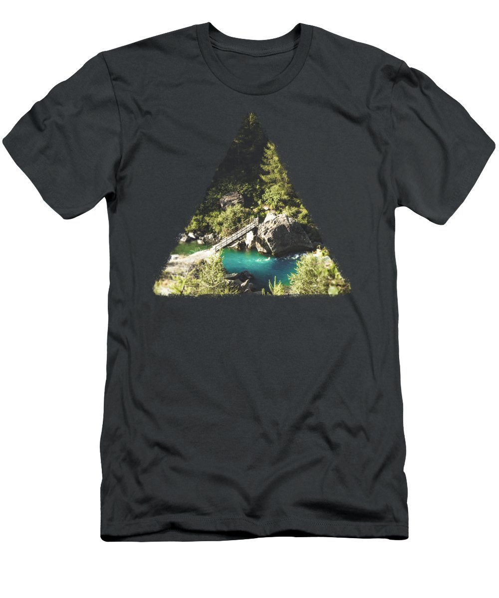 River Men's T-Shirt (Athletic Fit) featuring the photograph Mallero Mountain River - Lombardia - Italy by Dirk Wuestenhagen