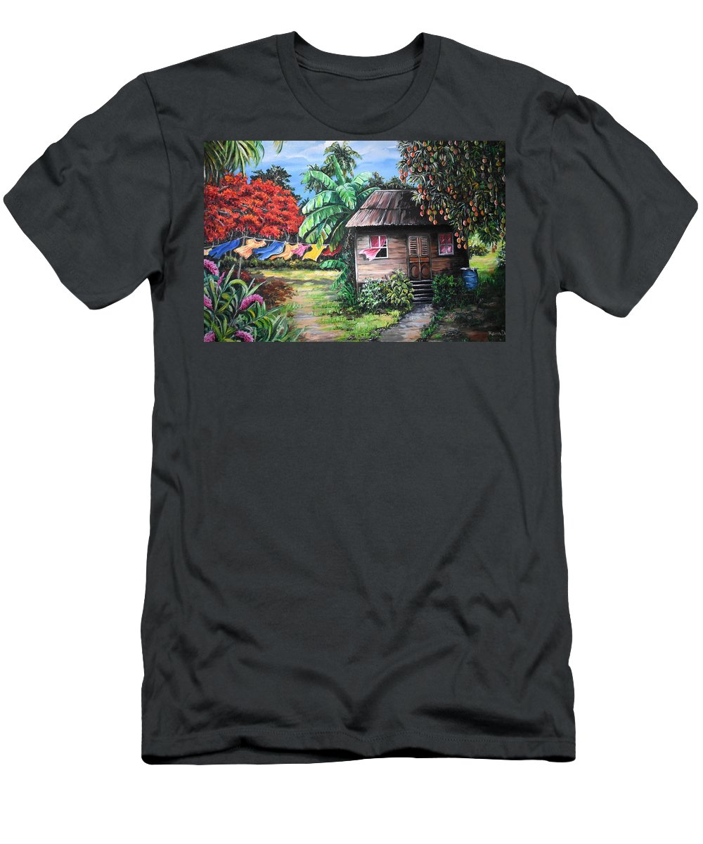 Old House T-Shirt featuring the painting Mango Season by Karin Dawn Kelshall- Best