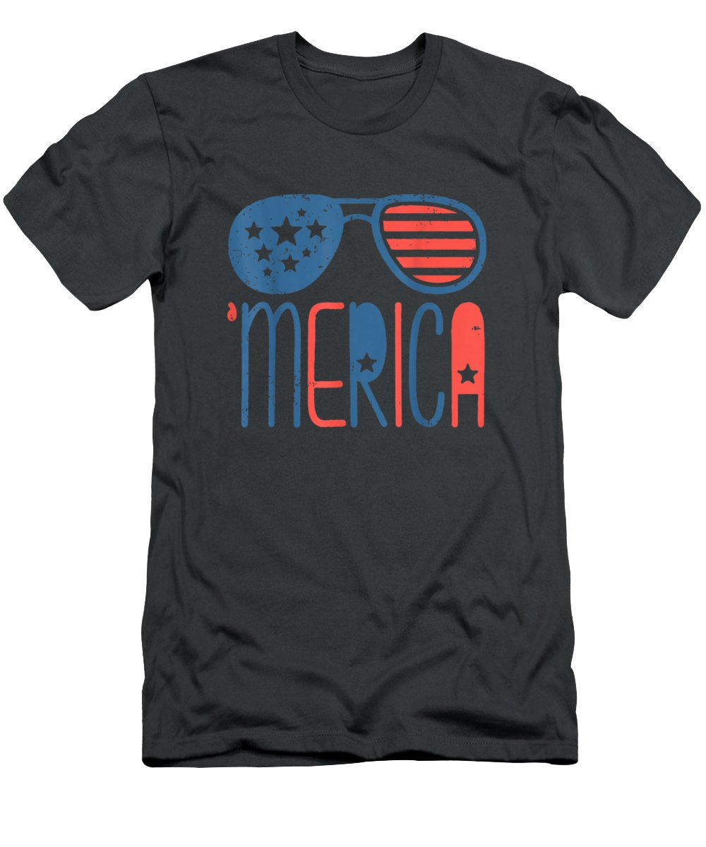 girls' Novelty T-shirts Men's T-Shirt (Athletic Fit) featuring the digital art Merica American Flag Aviators Toddler Tshirt 4th July White by Do David