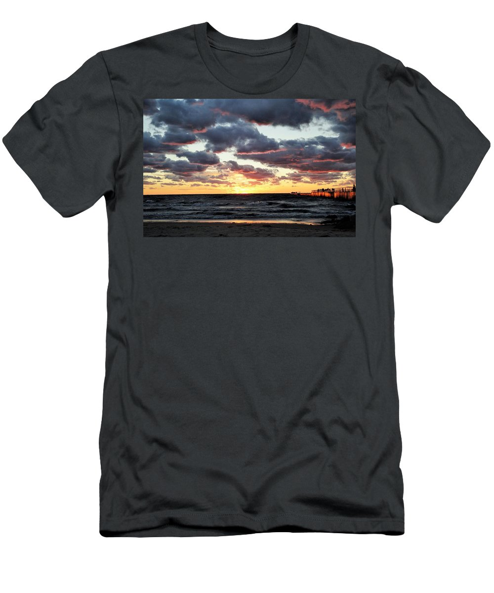 Water Men's T-Shirt (Athletic Fit) featuring the photograph Michigan Sunset by Katherine Taibl