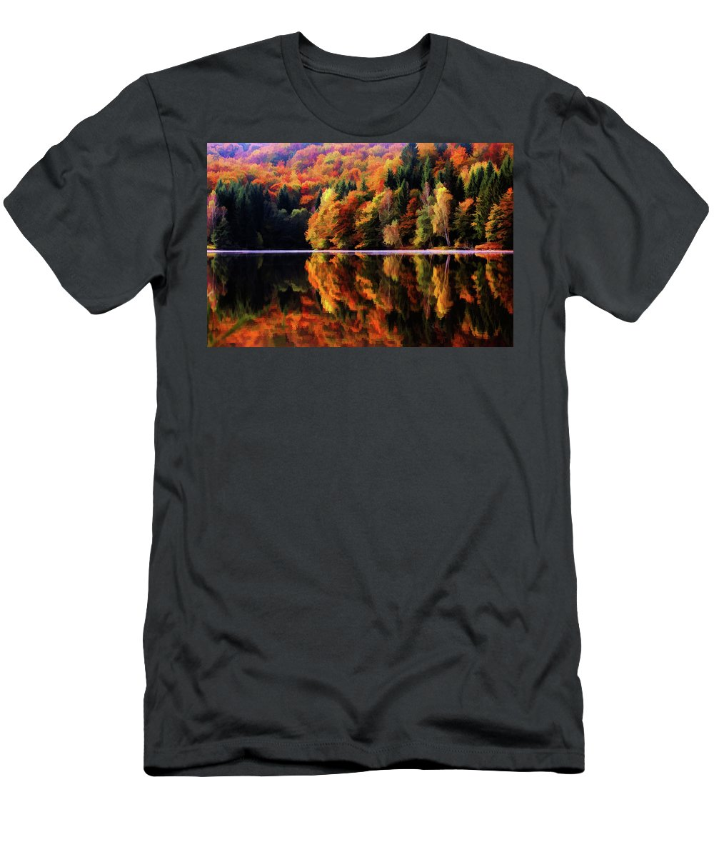 Fall Men's T-Shirt (Athletic Fit) featuring the digital art Mirrored Gallery by Dave Luebbert