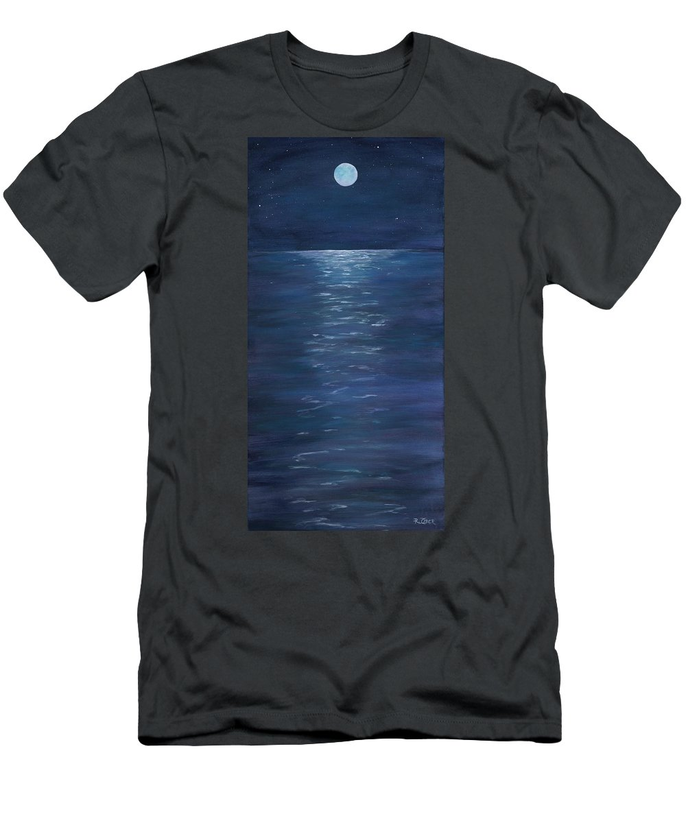 Nature Landscape Moon Water Reflection Night Sky Stars Blue River Lake Pond Stream Skyline Serine Peaceful Men's T-Shirt (Athletic Fit) featuring the photograph Moon Glow On The River by Renee Ober
