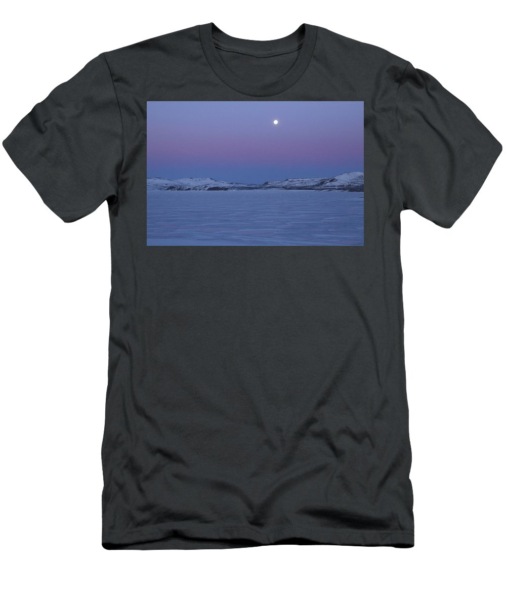 Scenic T-Shirt featuring the photograph Moonset Over The Gunnison by Marie Leslie