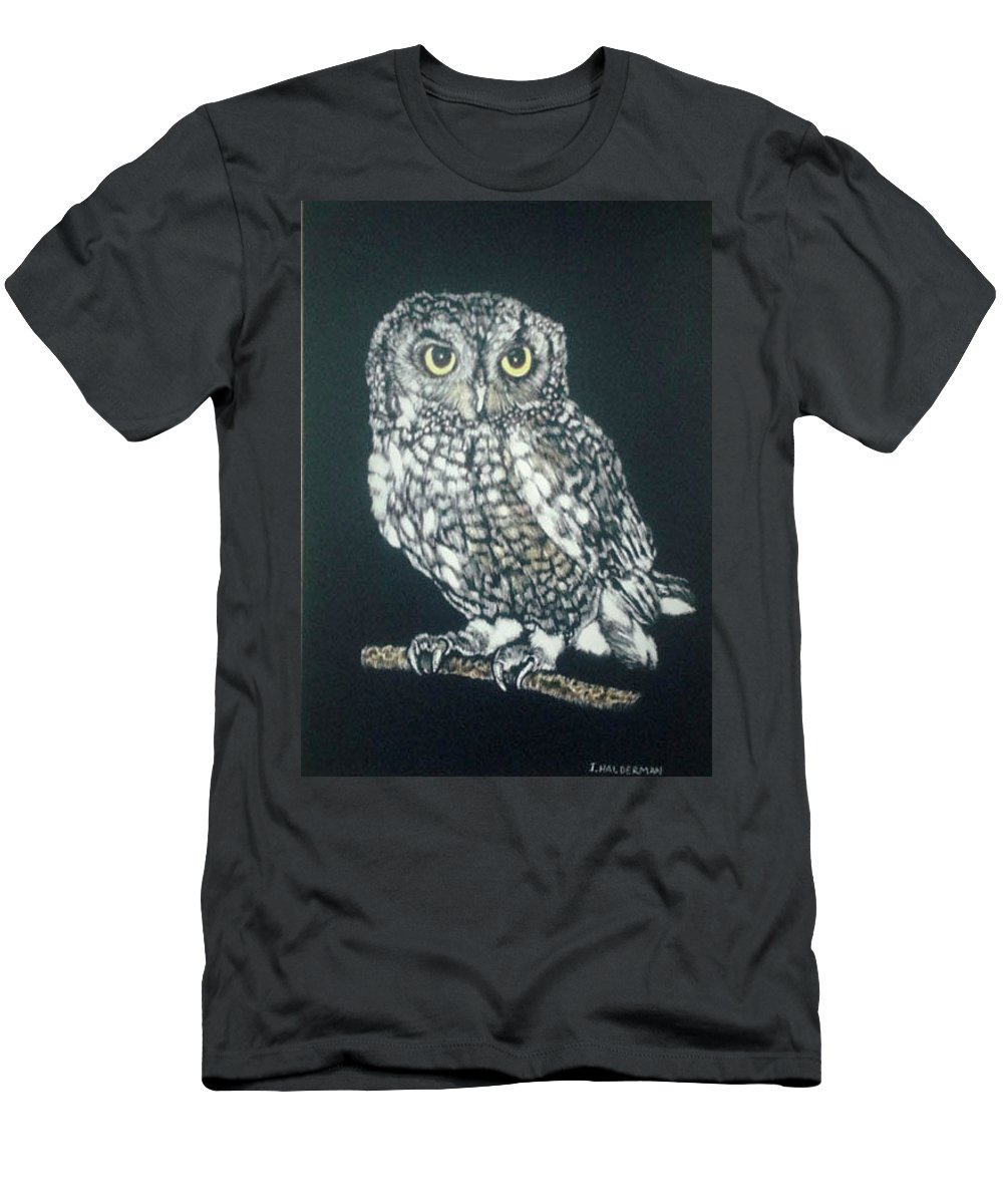 Scratchboard Art Men's T-Shirt (Athletic Fit) featuring the drawing Nighttime Visitor by ILona Halderman