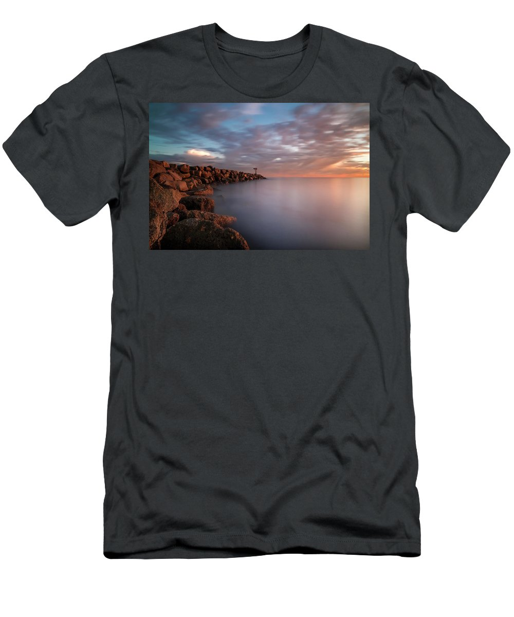 California Men's T-Shirt (Athletic Fit) featuring the photograph Oceanside Jetty by Larry Marshall