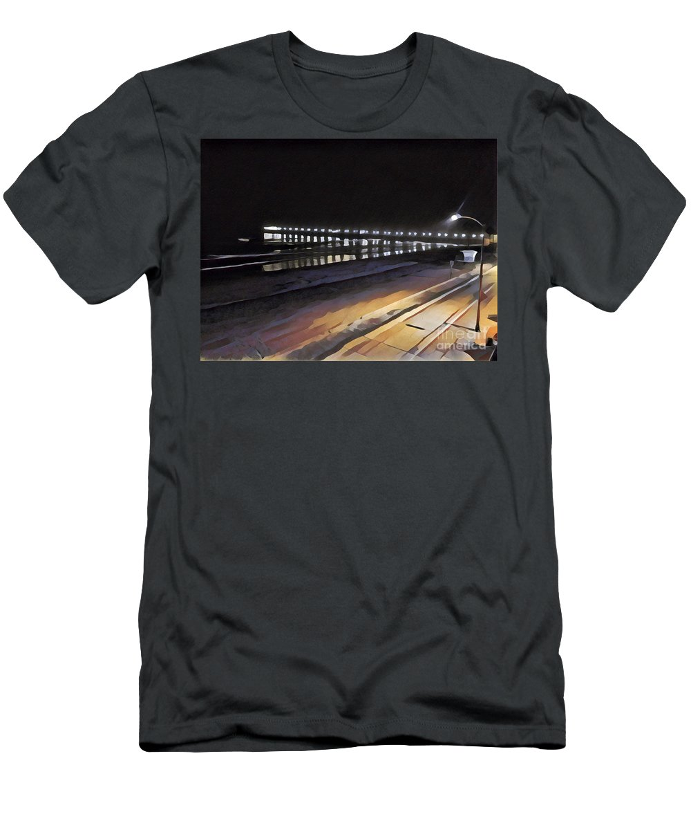 Ocean Pacific Ocean Night Evening Oceanside Pier Pier At Night Seaside Evening Seaside Evening Pier Black Men's T-Shirt (Athletic Fit) featuring the mixed media Oceanside Pier At Night by Tammera Malicki-Wong
