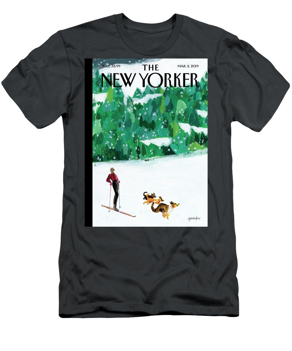 Skiing Men's T-Shirt (Athletic Fit) featuring the painting Off The Path by Gayle Kabaker